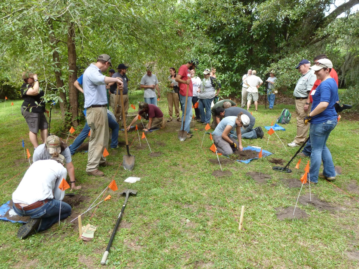 Excavating targets, class at Charles Towne Landing.